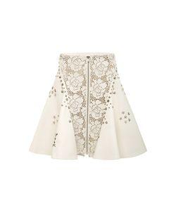 Rodarte | Off Laser Cut Leather Studded A-Line Skirt