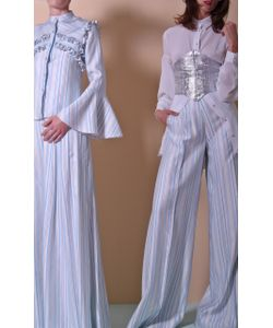 Christian Siriano | Striped Pleated Trouser