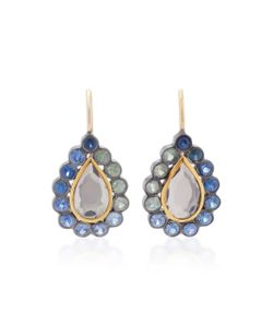 She Bee | Rhodium-Plated Sapphire And Topaz Earrings