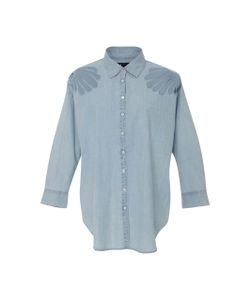 3X1 | Freja Embellished Shoulder Chambray Shirt