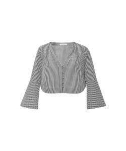 Piamita | India Gingham Bell Sleeve V-Neck Shirt
