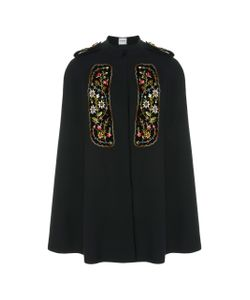 Vilshenko   Eugenia Embroidered Velvet-Paneled Crepe De Chine Cape