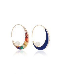 Noor Fares | Navratna Large Moon Tribal Earrings In With