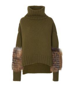 Sally Lapointe | Cross Fox Fur Sleeve Pullover