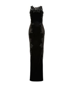 Marchesa | Velvet Embroidered Gown