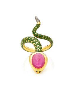 Holly Dyment | Holly Single Head Enamel Snake Ring