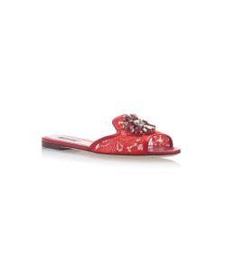 Dolce & Gabbana | Embellished Leather-Trimmed Lace Slides