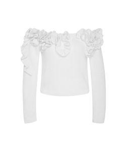 Delpozo | Off-The-Shoulder Ruffled Cotton Sweater