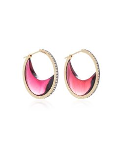 Noor Fares | Chandra Crescent Earrings In With Garnet Crescents