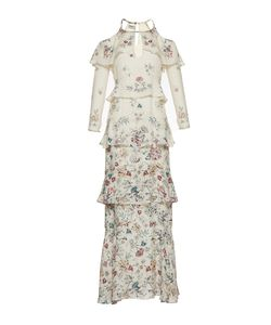 Vilshenko   The Annabelle Print Jacquard Tie Full Length Dress