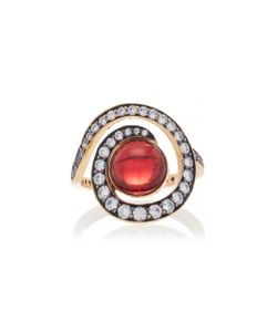 Noor Fares   Planet Spiral Ring In With Garnet