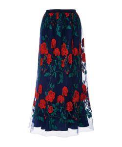 Adam Selman | Topiary Embroide Pleated Overlay Skirt
