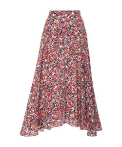 Saloni | Ida Printed Silk Crepe De Chine Skirt
