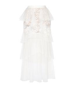 Elie Saab | Tulle And Lace Tiered Midi Skirt