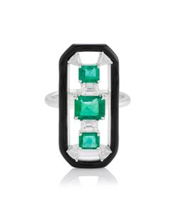 Nikos Koulis | Oui Long Ring With Emeralds Trillion And Emerald Cut