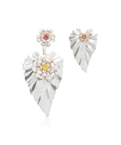 Rodarte | Stud Leaf Earrings With Swarovski Crystal Details