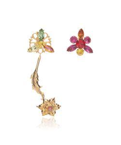 Rodarte | Flower Earrings With Swarovski Crystal Details