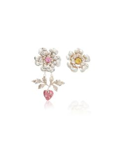 Rodarte | Flower And Strawberry Earrings With Swarovski Crystal Details