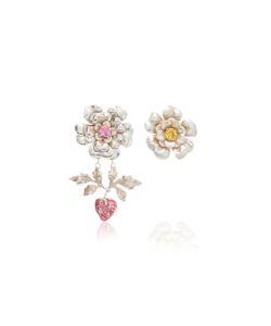 Rodarte | Flower And Strawberry Earrings With Swarovski Crystal Details