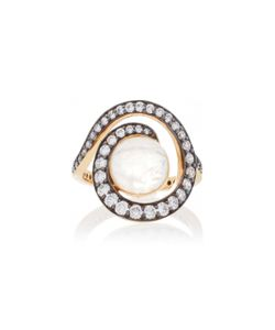 Noor Fares | Planet Spiral Ring In With Rainbow Moonstone