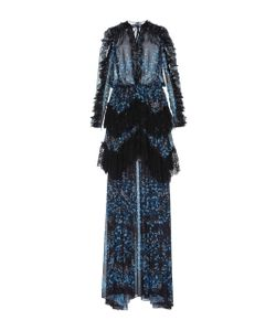 Zuhair Murad   Printed Georgette And Chantilly Lace Dress