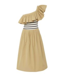 Sea | Striped Combo Asymmetric Midi Dress