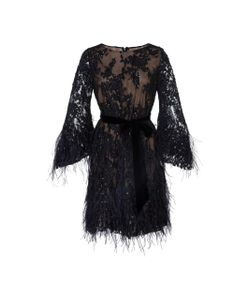Marchesa | Bead And Feather Embroidered Mini Dress