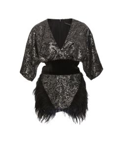 Sally Lapointe | Sequin Embellished Velvet Top