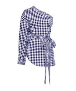 Rosetta Getty | One-Shoulder Gingham Cotton Blouse