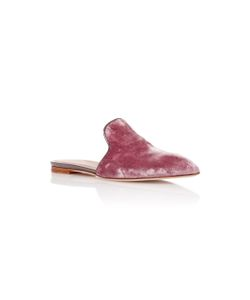 Malone Souliers | Marianne Leather-Trimmed Velvet Slides