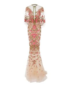 Marchesa | Embroidered Dress With Capelet