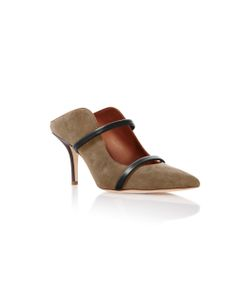 Malone Souliers | Maureen Leather-Trimmed Chocolate Suede Mules