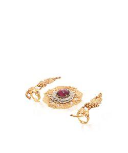 Rodarte | Grape Vine Ring Set With Amethyst Glass Cabochon