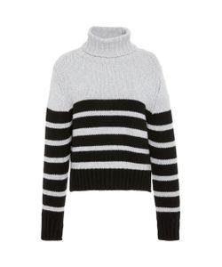 Allude   Striped Cashmere Turtleneck Sweater