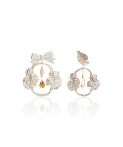 Rodarte | Bow And Leaf Baroque Earrings With Swarovski Crystal Details