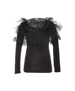 Alexis Mabille | Tulle Accent Long Sleeve Top