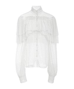 Rodarte | Polka Dot Long Sleeve High Neck Blouse