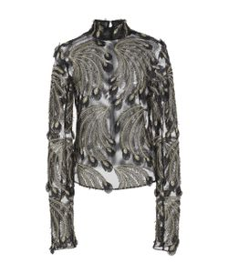 Sally Lapointe | Embroidered Lurex Feathers Skip Top