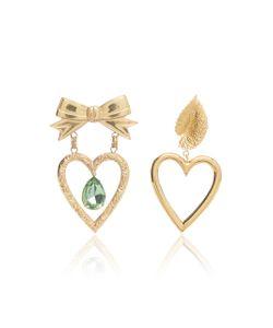 Rodarte | Dangle Heart Earrings With Bow Leaf And Swarovski Crystal
