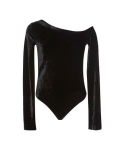 Getting Back To Square One   One-Shoulder Velvet Bodysuit