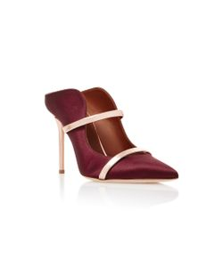 Malone Souliers | Maureen Leather-Trimmed Satin Mules