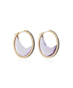 Noor Fares | Chandra Crescent Earrings In With Amethyst Crescents