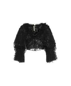 Rodarte | Tulle Embroidered Cropped Blouse