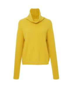 Allude   Ribbed Cashmere Funnel Neck Sweater
