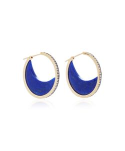 Noor Fares | Chandra Crescent Earrings In With Lapis Lazuli