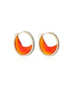 Noor Fares | Chandra Crescent Earrings In With Carnelian Crescents