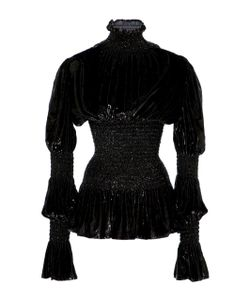 Christian Siriano | Lacquered Velvet Victorian Sleeve Blouse
