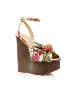 Charlotte Olympia | Miranda Printed Canvas Platform Wedge Sandals