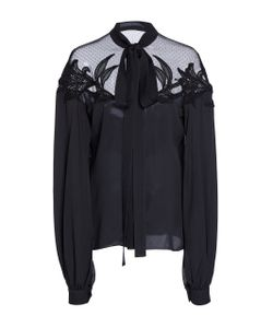 Elie Saab | Crepe And Tulle Necktie Blouse