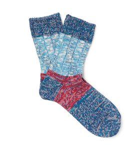 Kapital   Colour-Block Cotton-Blend Socks